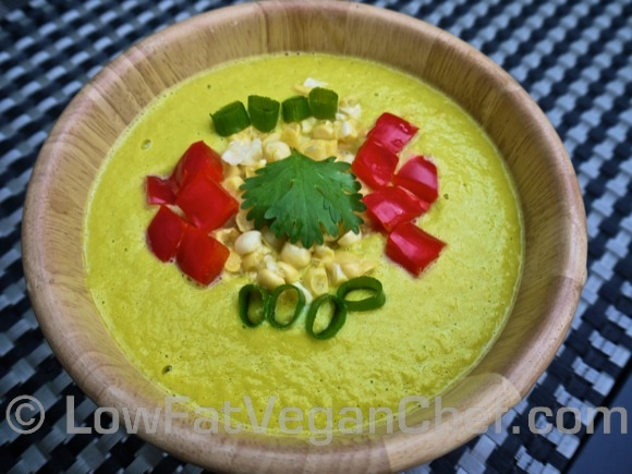 Raw Vegan Plant-Based Mexican Cilantro Corn Chowder
