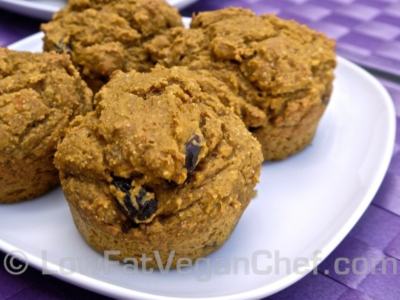 Fat Free Vegan Pumpkin Raisin Muffins Sweetened With Maple Syrup