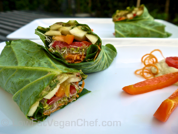 How To Make Raw Vegan Veggie Collard Wrap Sandwich