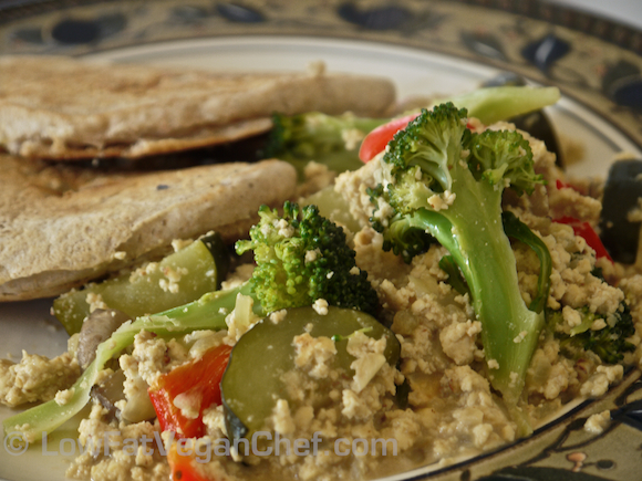 Low Fat Vegan Oil Free Deluxe Dijon Tofu Scramble With Mushrooms, Onions, Broccoli, Zucchini, Red Peppers