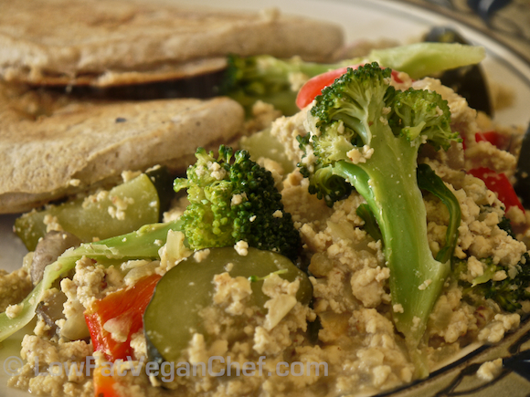 Deluxe Dijon Tofu Scramble With Mushrooms, Broccoli, Pepper and Zucchini
