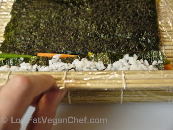 Vegan Dragon Sushi Roll Uramaki Inside Out Roll Avocado Vegetables