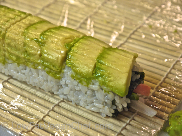 Vegan Dragon Sushi Roll Uramaki Inside Out Roll Avocado Vegetables
