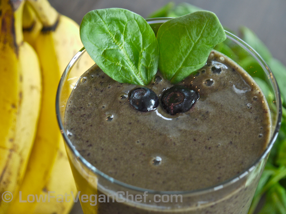 Low Fat Vegan Chef's Beginner's Green Smoothie Blueberry Banana Spinach Smoothie
