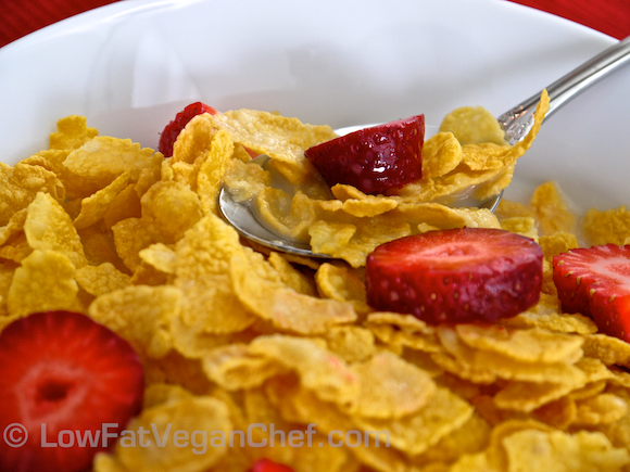 Low Fat Vegan Chef's Cornflakes With Strawberries