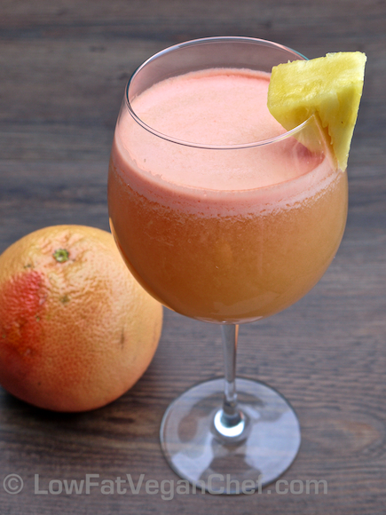 Low Fat Vegan Chef's Morning Sunrise Pineapple Grapefruit Ginger Juice (1)