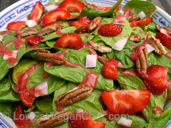 Low Fat Raw Vegan Chef's Strawberry Pecan Spinach Salad