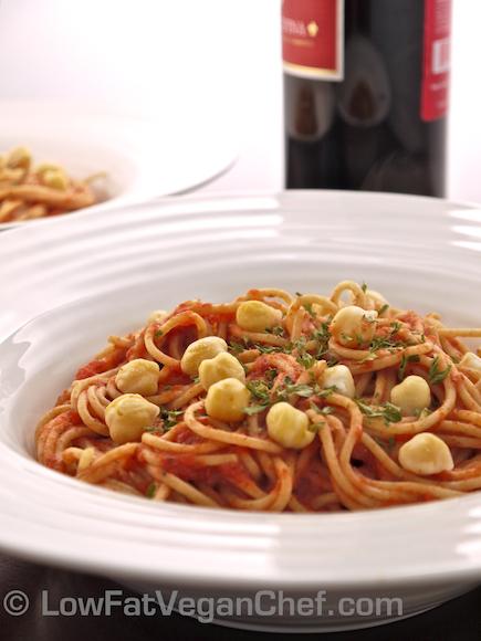 Low Fat Vegan Chef's Fat Free Vegan Spaghetti With Chickpeas