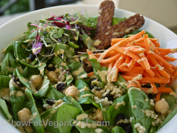 Super Protein Packed Spinach Salad With Quinoa, Chickpeas and Creamy Orange Hemp Seed Dressing