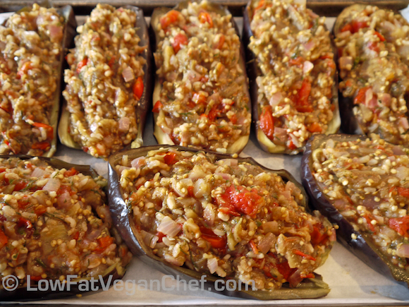 Low fat vegan greek stuffed eggplant with brown rice forumfinder Image collections