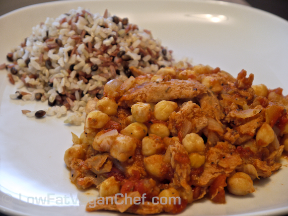 Soy Curls with Chickpeas and Tomato Sauce