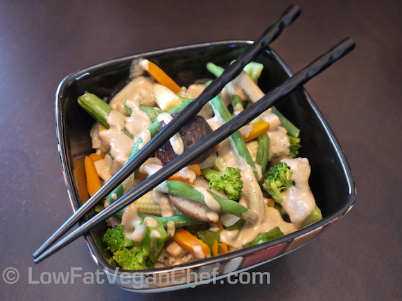 Asian Vegetable Stir Fry in Tahini Sauce