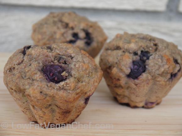Fat Free Vegan Whole Wheat Banana Blueberry Muffins