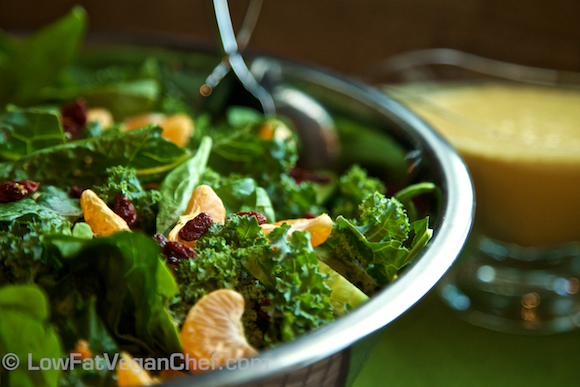 Low Fat Vegan Chef's Kale Mandarin Orange Goji Berry Salad with Citrus Ginger Cashew Dressing