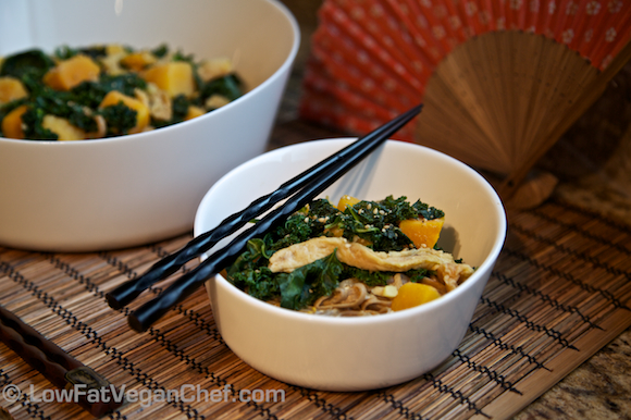 Plant-Based Soy Curls, Squash and Kale Soba Noodles in Peanut Sauce