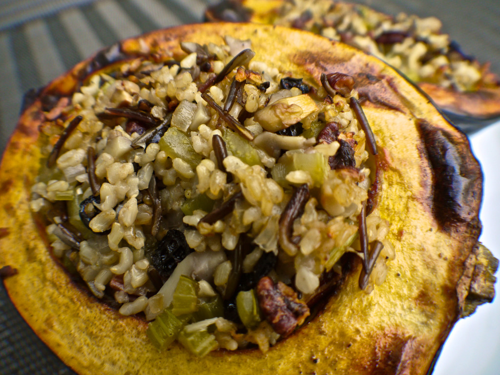 Plant-Based Holiday Stuffed Acorn Squash with Wild Rice, Mushrooms and Cranberries (Vegan)