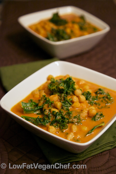 Low Fat Vegan Chef's Creamy Coconut Kale and Chickpea Curry