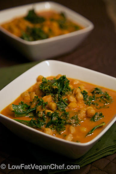 Low Fat Vegan Chef's Creamy Plant-Based Coconut Kale and Chickpea Curry